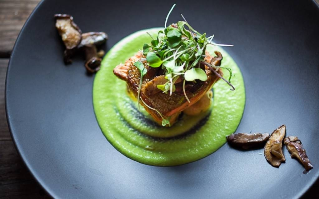 PAN TROUT WITH SPRING PEA SAUCE | catamaran Moya chef, Elena Nabilskagia suggests